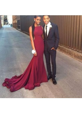 2020 Sexy Mermaid Burgundy Long Train African American Backless Prom Dress