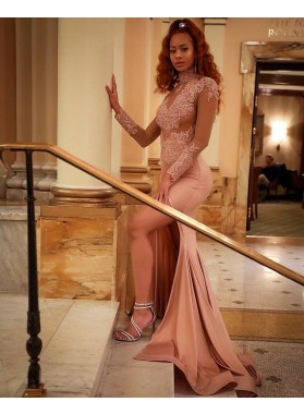 Charming Dusty Rose Long Sleeves Sheath Side Slit High Neck See Through Prom Dress 2021