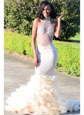 Amazing Ivory Mermaid High Neck See Through Ruffles Backless Pleated African American Prom Dress