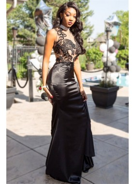 Charming Sheath Black High Neck Elastic Satin Prom Dress With Appliques