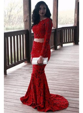 Charming Red Mermaid Long Sleeves Two Pieces Lace Prom Dress 2020