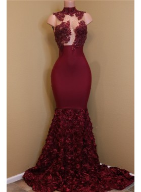 2020 New Arrival Mermaid Burgundy High Neck Rose Ruffles Sleeveless Long African American Prom Dress