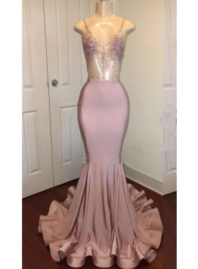 Sexy Mermaid Dusty Rose Sweetheart Shiny Backless Long Prom Dress 2020