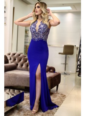 2020 Charming Royal Blue Sheath Side Slit Beaded Sleeveless Prom Dress