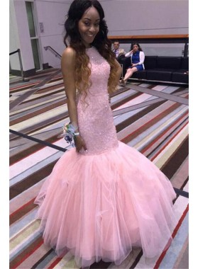 2021 Sexy Mermaid Pink Tulle Full Beaded Sleeveless African American Prom Dress