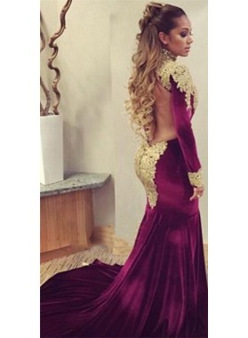 2020 Sexy Mermaid Burgundy and Gold Appliques Velvet Long Sleeves African American Long Backless Prom Dress