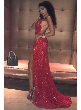 2021 Sexy Red Sheath Side Slit Sweetheart Sequence Backless Prom Dress
