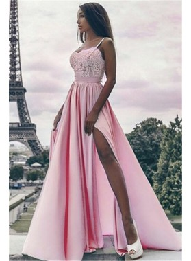 Cheap A Line Satin Pink Sweetheart Side Slit Lace Spaghetti Straps Prom Dress 2019