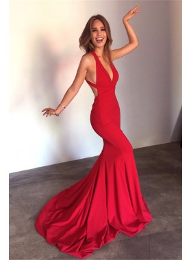 Sexy Red Mermaid Backless Satin V Neck Long 2021 Prom Dress