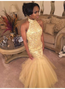 2021 Sexy Mermaid High Neck Tulle Champagne African American Backless Prom Dress