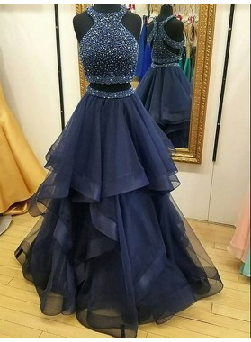 2020 Cheap A Line Ruffles Tulle Navy Blue High Neck Two Pieces Prom Dress