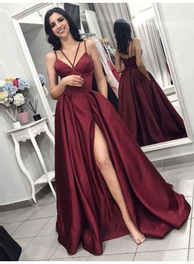 2021 Newly A Line Satin Burgundy Side Slit Sweetheart Long Prom Dress