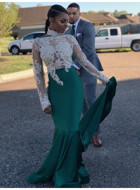 2021 Cheap Sheath Emerald and White Long Sleeves High Neck Beaded African American Prom Dress