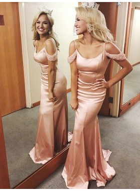 2021 Charming Pink Elastic Satin Mermaid Off Shoulder Scoop Prom Dress