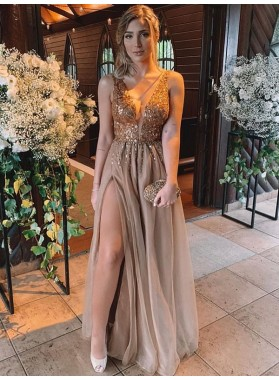 2021 Charming A Line Side Slit Chiffon Light Brown V Neck Beaded Prom Dress
