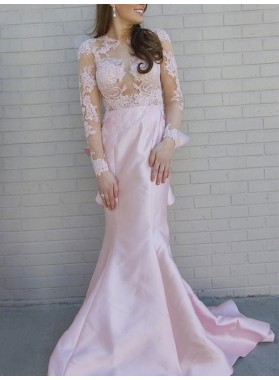 2021 New Designer Mermaid Pink Long Sleeves Backless See Through Lace Prom Dress