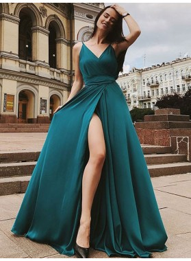 2021 Charming A Line Side Slit Teal V Neck Elastic Satin Long Prom Dress