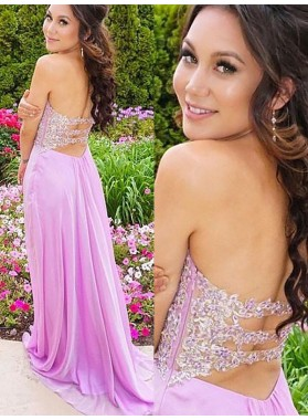 2021 Cheap A Line Sweetheart Chiffon Lilac Backless Prom Dress