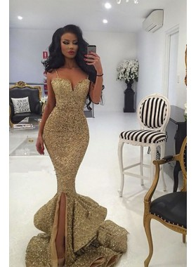 Sexy 2021 Gold Sweetheart Mermaid Side Slit Sequence Long Spaghetti Straps Prom Dress