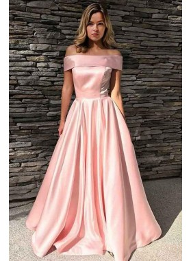 Cheap Pink A Line Elastic Satin Off Shoulder Long Prom Dress 2021