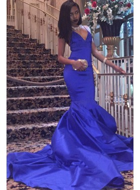 2021 Charming Satin Mermaid Royal Blue V Neck Backless Criss Cross Prom Dress