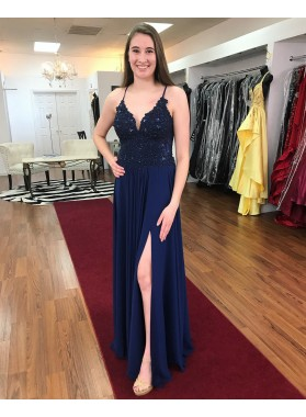 2020 Cheap A Line Chiffon Dark Navy Side Slit Sweetheart Lace Up Back Prom Dress