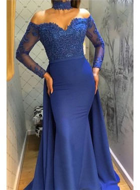 Charming Mermaid Royal Blue Long Sleeves Off Shoulder Sweetheart Lace Prom Dress 2020