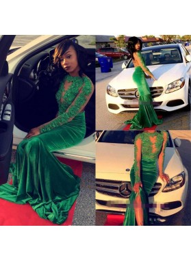 2020 New Arrival Mermaid Long Sleeves Green Backless Velvet African American Prom Dress