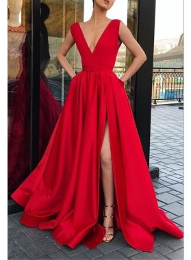 Charming A Line Satin Side Slit V Neck Red Prom Dress 2020