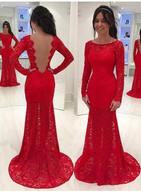 Elegant Red Sheath Long Sleeves Lace Backless Scoop Prom Dress 2021