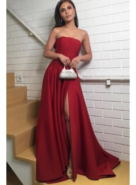 Cheap A Line Strapless Red Side Slit Satin Prom Dress 2021