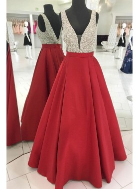 2020 Elegant A Line Satin Red V Neck Beaded Backless Long Prom Dress