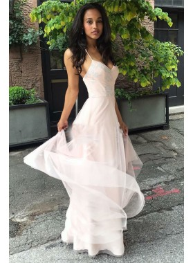 Cheap A Line Tulle Pearl Pink Sweetheart Halter Backless Prom Dress 2020