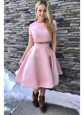 2020 Newly A Line Pink Short Sleeves Two Pieces Knee Length Short Prom Dress
