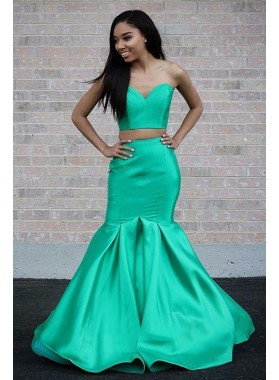 2021 New Designer Mermaid Sweetheart Satin Strapless Mint Green Two Pieces Prom Dress