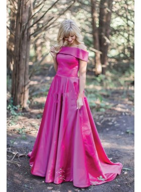 2020 Cheap Fuchsia Off Shoulder Satin A Line Long Prom Dress