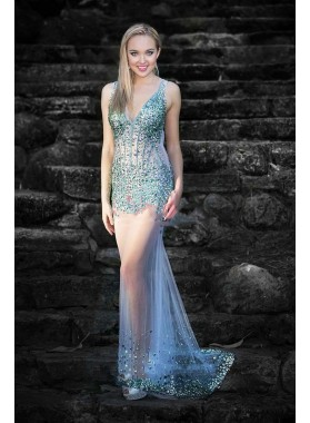 2021 Sexy Sheath Tulle See Through V Neck Backless Beaded Long Prom Dress