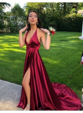 2021 Cheap A Line Burgundy Halter Side Slit V Neck Backless Prom Dress