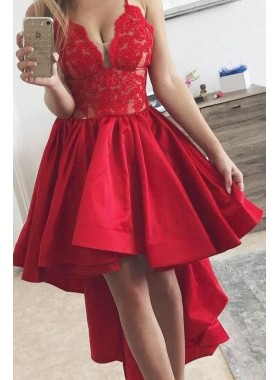 2020 New Arrival A Line Red Satin High Low Lace Short Prom Dress