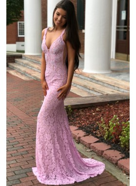 2021 Amazing Sheath Sweetheart Pink Backless Lace Long Prom Dress