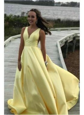 2020 Cheap A Line Satin Light Yellow Sweetheart Long Prom Dress