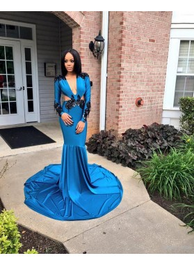 Newly Sheath Royal Blue and Black Long Sleeves V Neck Hollow Out African American Prom Dress
