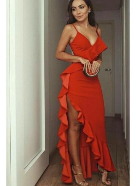 Charming Red Sheath Sweetheart Ruffles Sweetheart Asymmetrical Prom Dress 2021