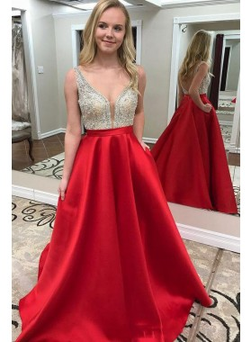 2020 Elegant Satin A Line Sweetheart Beaded Red Backless Long Prom Dress