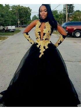 Cheap A Line Black and Gold High Neck Tulle Key Hole Backless African American Prom Dress 2020