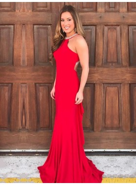 2020 New Arrival Red Sheath Beaded Scoop Long Prom Dress