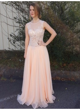 Cheap A Line Chiffon See Through Peach Lace Prom Dress 2021