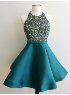 Cheap A Line Teal Knee Length Satin Scoop Beaded Short Prom Dress