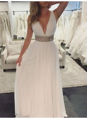 Cheap A Line White Deep V Neck Chiffon Backless Beaded Sash Prom Dress 2020
