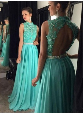 2021 Cheap A Line Turquoise Chiffon Backless High Neck Beaded Prom Dress